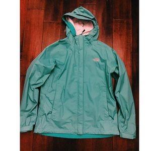 Hooded Turquoise Northface Jacket/Windbreaker